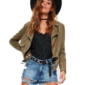 Misguided Olive Faux Suede Moto Jacket Size 2